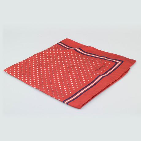 E. Marinella Napoli // Pattern Silk Pocket Square // Red + White