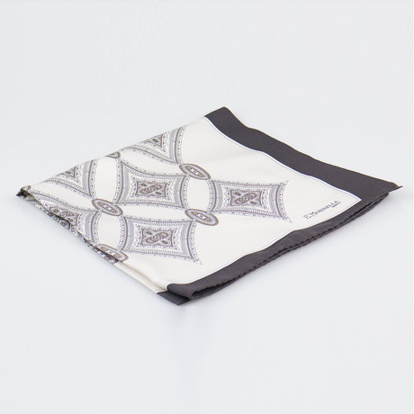 E. Marinella Napoli // Pattern Silk Pocket Square // Black + Beige + Brown