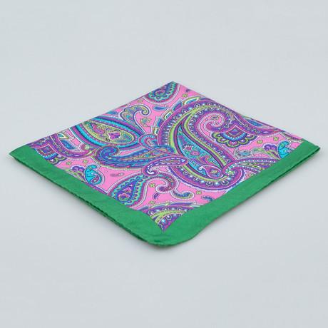 Battisti Napoli // Paisley Pattern Silk Pocket Square // Green + Multicolor