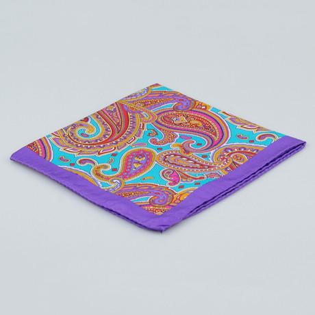 Battisti Napoli // Paisley Pattern Silk Pocket Square // Purple + Multicolor