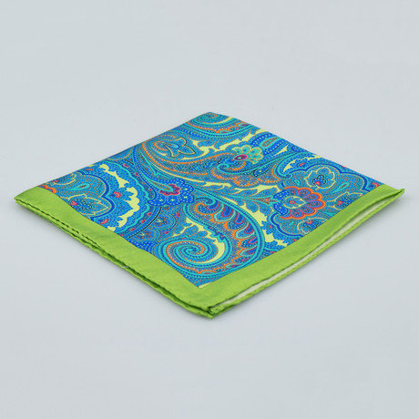 Battisti Napoli // Paisley Pattern Silk Pocket Square // Green + Blue