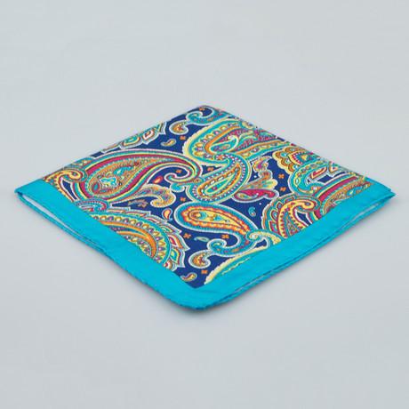 Battisti Napoli // Paisley Pattern Silk Pocket Square // Blue + Multicolor