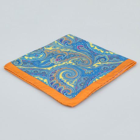 Battisti Napoli // Paisley Pattern Silk Pocket Square // Orange + Blue