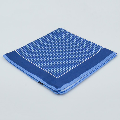 Cesare Attolini // Floral Pattern Silk Pocket Square // Blue