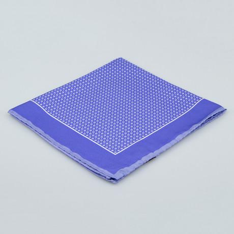 Cesare Attolini // Floral Pattern Silk Pocket Square // Purple
