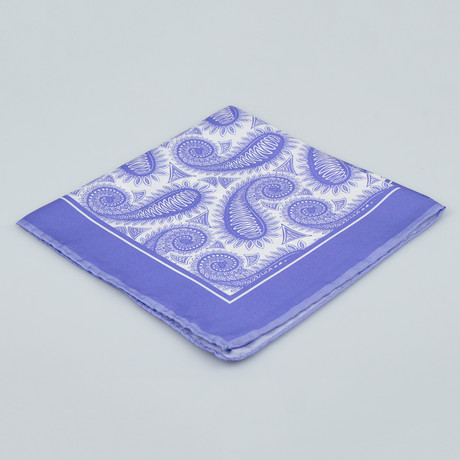 Cesare Attolini // Paisley Pattern Silk Pocket Square // Purple