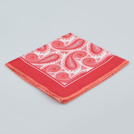 Cesare Attolini // Paisley Pattern Silk Pocket Square // Red