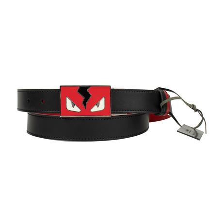 Fendi // Leather Reversable Monster Belt // Black + Red