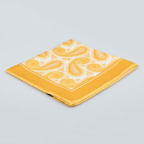 Cesare Attolini // Paisley Pattern Silk Pocket Square // Gold