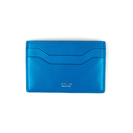 Smooth Leather ID Card Holder Wallet // Deep Sky Blue