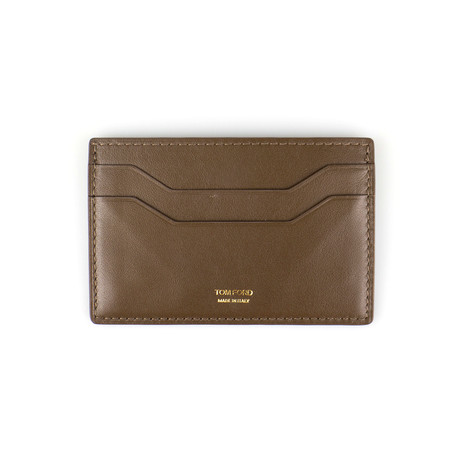 Smooth Leather ID Card Holder Wallet // Lion Brown