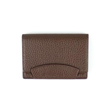 Pebbled Leather Envelope Card Holder Wallet // Brown