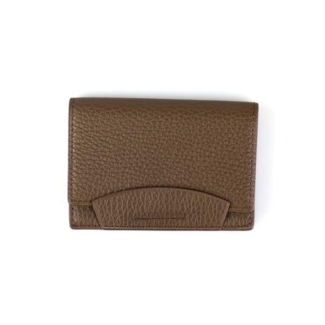 Pebbled Leather Envelope Card Holder Wallet // Lion Brown