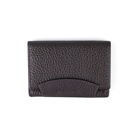 Pebbled Leather Envelope Card Holder Wallet // Dark Brown