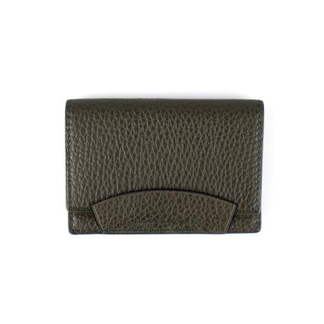 100% Pebbled Leather Envelope Card Holder Wallet // Moss Green
