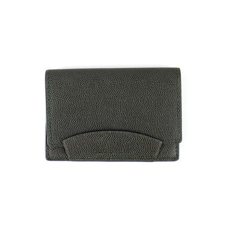 100% Pebbled Leather Envelope Card Holder Wallet // Green