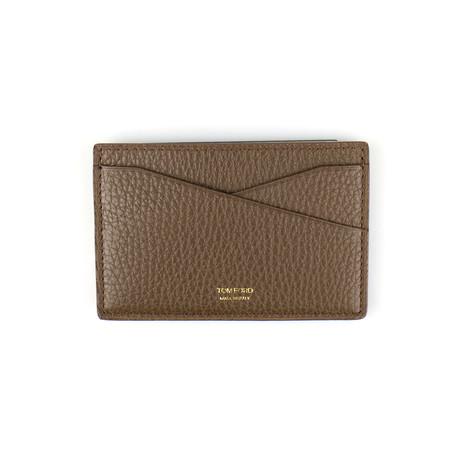 100% Pebbled Leather Card Holder Wallet // Lion Brown