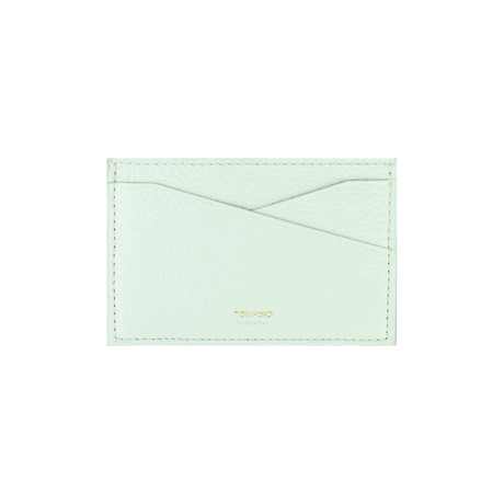 100% Grained Leather Card Holder Wallet // Mint Green