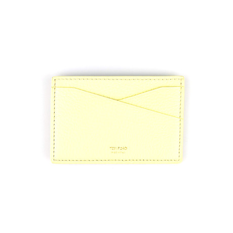 100% Grained Leather Card Holder Wallet // Yellow