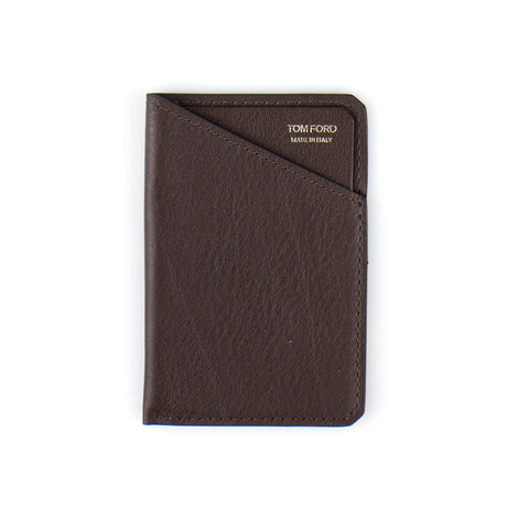 100% Small Grained Leather Card Holder // Brown