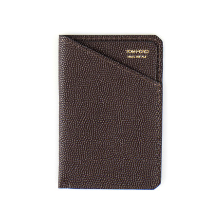 100% Pebbled Leather Card Holder // Brown
