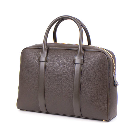 Buckley Trapeze Pebbled Leather Briefcase Bag // Medium // Brown