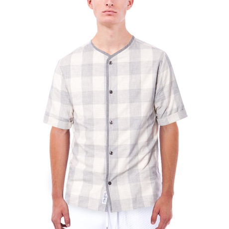 Grayson Plaid Short-Sleeve Button Down // Light Grey (S)
