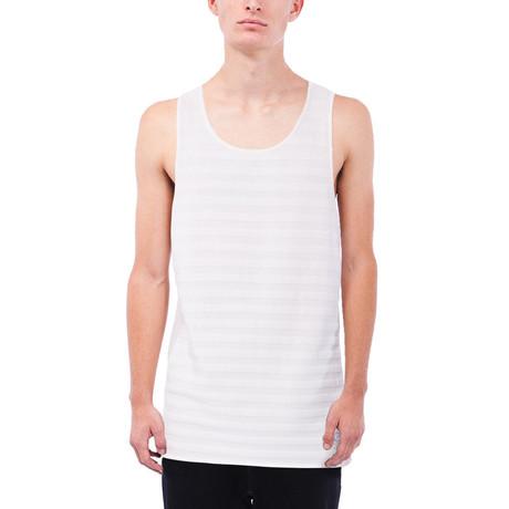 Ryder Tonal Stripe Pique Tank // White (S)