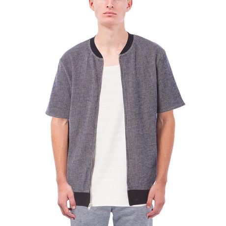 Jensen Short-Sleeve Zip Up Sweatshirt // Navy (S)