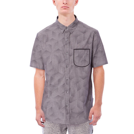 Elijah Printed Short-Sleeve Button Down // Charcoal (S)