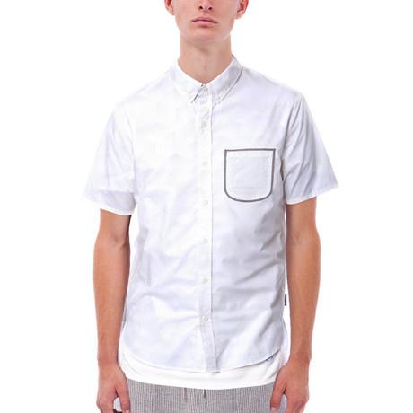 Elijah Printed Short-Sleeve Button Down // White (S)