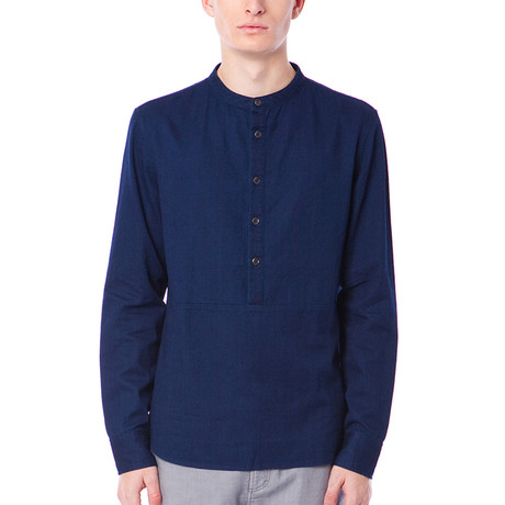 Gannon Denim Woven Shirt // Dark Indigo (S)