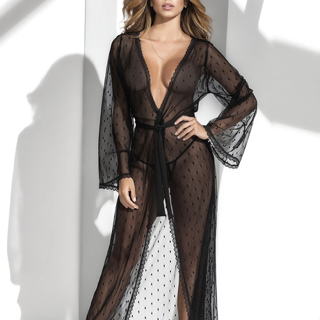 Karlie Long Lace Robe + Matching G-String // Black (S-M)