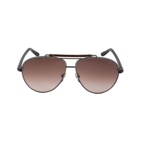 Tom Ford // Unisex Adrenne Aviator Sunglasses // Gunmetal Silver