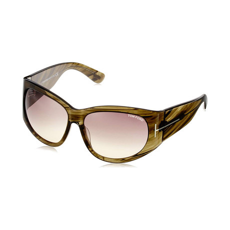 Tom Ford // Women's Felicity Round Wrap Sunglasses // Havana + Gray