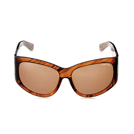 Tom Ford // Women's Felicity Round Wrap Sunglasses // Havana Brown