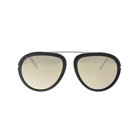 Tom Ford // Unisex Johnson Round Sunglasses // Black + Silver