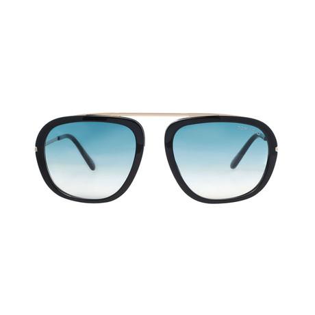 Tom Ford // Unisex Johnson Round Sunglasses // Black + Blue