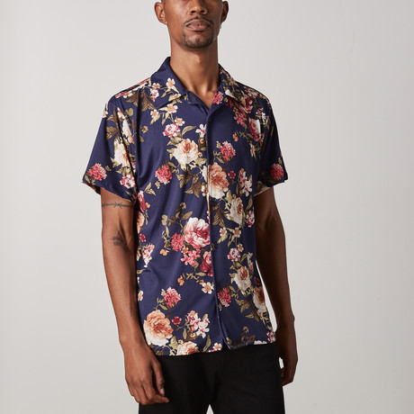 Floral Button Up // Navy (S)