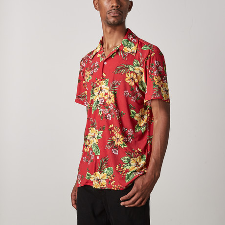 Hawaiian Floral Button Up // Red (S)
