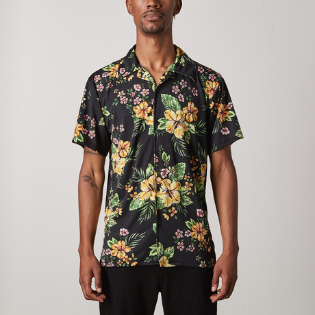 Hawaiian Floral Button Up // Black (S)