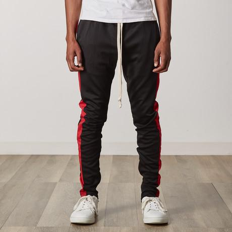 Slim Skinny Track Pants // Black + Red (S)