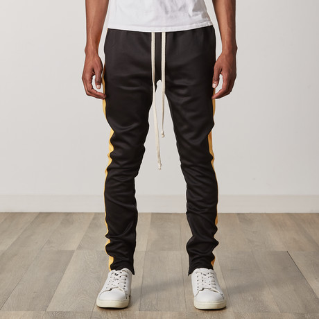 Slim Skinny Track Pants // Black + Yellow (S)