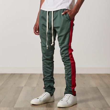 Slim Skinny Track Pants // Green + Red (S)