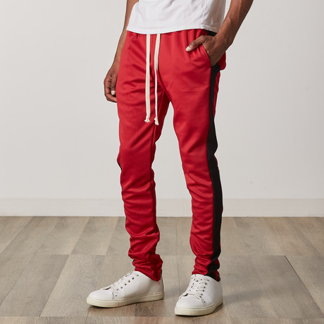 Slim Skinny Track Pants // Red + Black (S)