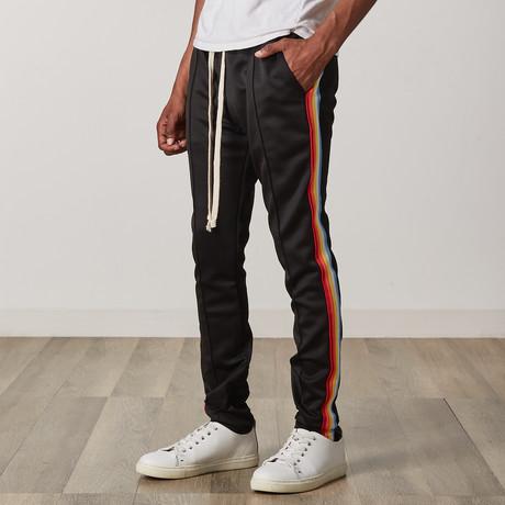 Rainbow Taped Track Pants // Black (S)