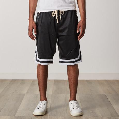 Mesh Basketball Shorts // Black + White + Black (S)