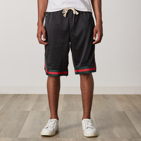 Mesh Basketball Shorts // Black + Green + Red (S)