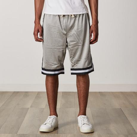 Mesh Basketball Shorts // Gray + Black + White (S)