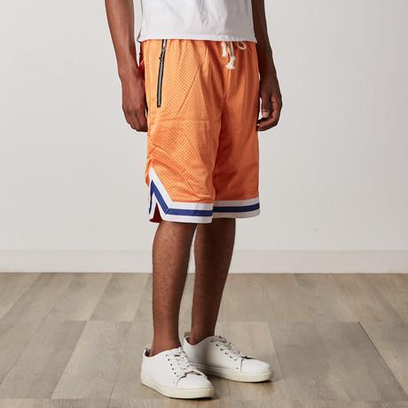 Mesh Basketball Shorts // Orange + White + Blue (S)